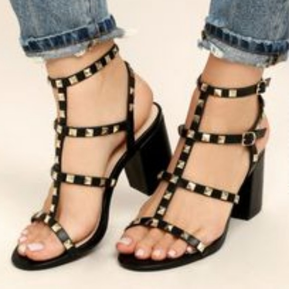 21bf9782109 Phedra Black Studded Ankle Strap Block Heels 6